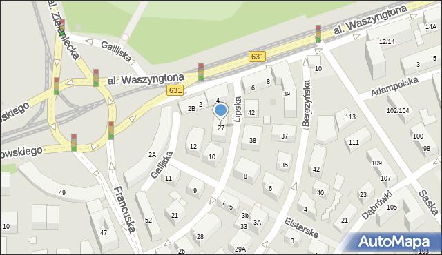 Warszawa, Lipska, 27, mapa Warszawy