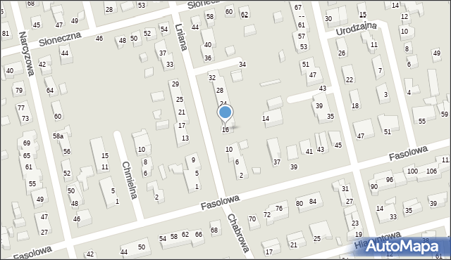 Toruń, Lniana, 16, mapa Torunia
