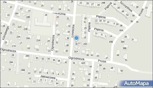 Chełm, Łowiecka, 31, mapa Chełma