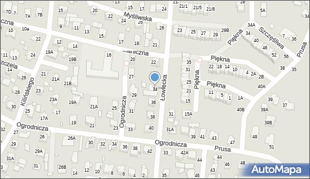 Chełm, Łowiecka, 34, mapa Chełma