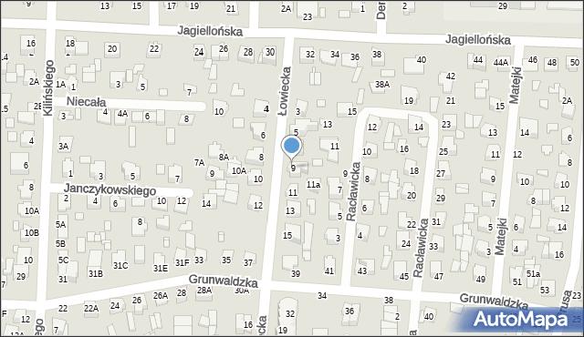 Chełm, Łowiecka, 9, mapa Chełma