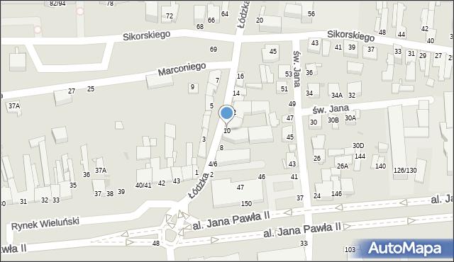 Częstochowa, Łódzka, 10, mapa Częstochowy