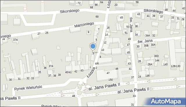 Częstochowa, Łódzka, 3, mapa Częstochowy