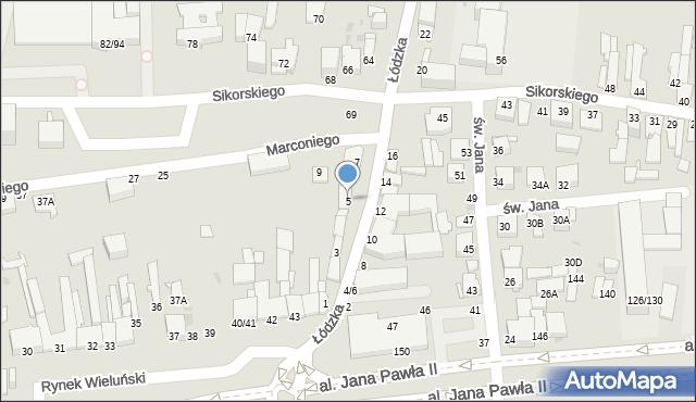 Częstochowa, Łódzka, 5, mapa Częstochowy