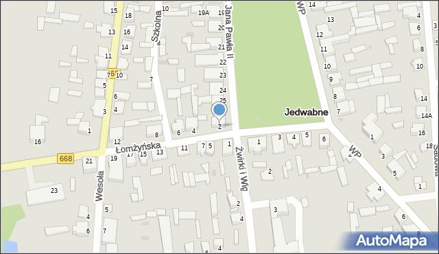 Jedwabne, Łomżyńska, 2, mapa Jedwabne