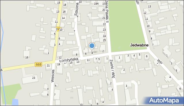 Jedwabne, Łomżyńska, 4, mapa Jedwabne