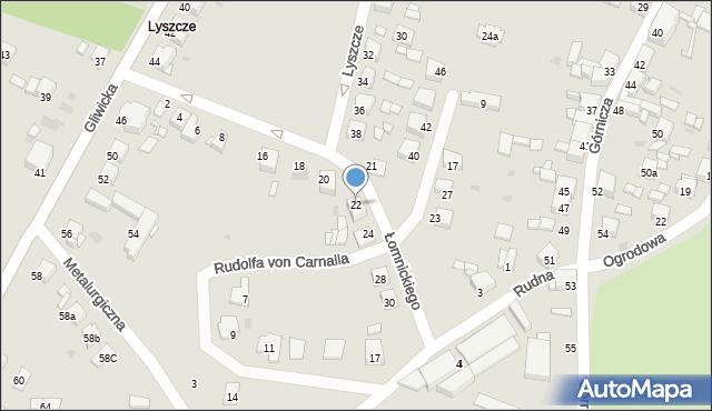 Tarnowskie Góry, Łomnickiego Antoniego, 22, mapa Tarnowskie Góry