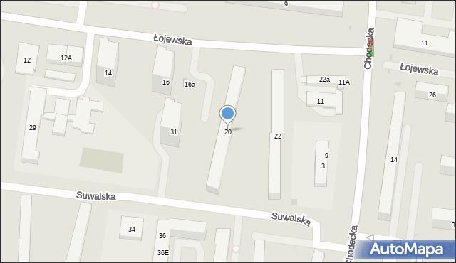 Warszawa, Łojewska, 20, mapa Warszawy