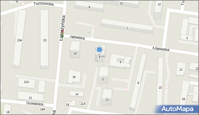 Warszawa, Łojewska, 4, mapa Warszawy