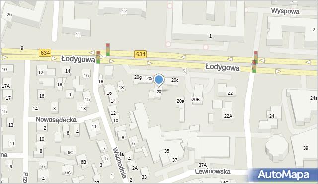 Warszawa, Łodygowa, 20, mapa Warszawy
