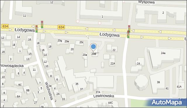 Warszawa, Łodygowa, 20B, mapa Warszawy