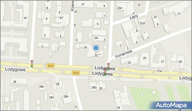 Warszawa, Łodygowa, 21, mapa Warszawy