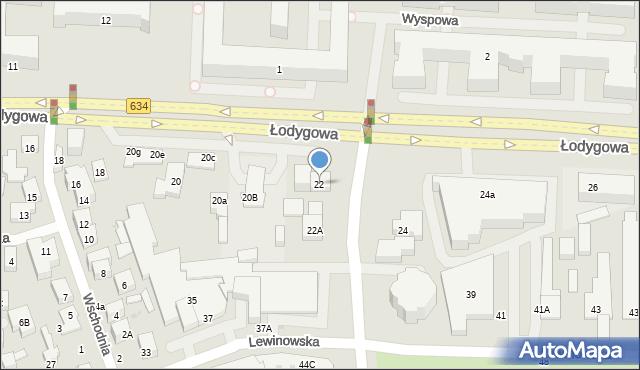 Warszawa, Łodygowa, 22, mapa Warszawy