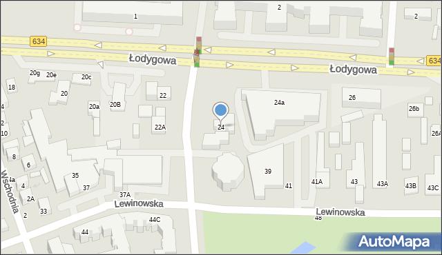 Warszawa, Łodygowa, 24, mapa Warszawy