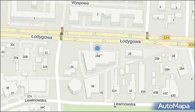Warszawa, Łodygowa, 24a, mapa Warszawy