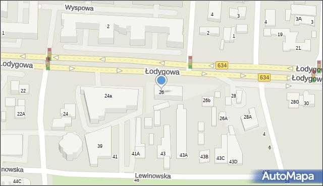 Warszawa, Łodygowa, 26, mapa Warszawy