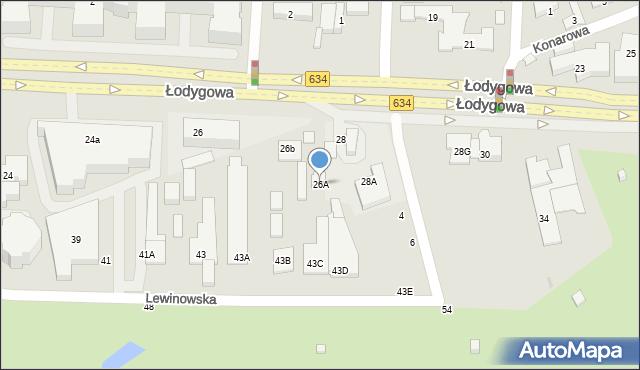 Warszawa, Łodygowa, 26A, mapa Warszawy