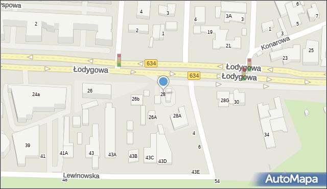 Warszawa, Łodygowa, 28, mapa Warszawy