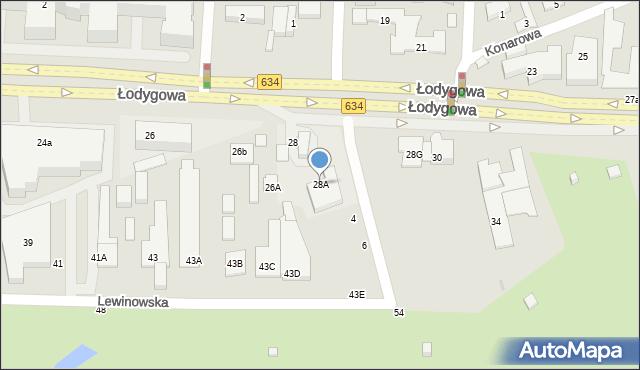 Warszawa, Łodygowa, 28B, mapa Warszawy