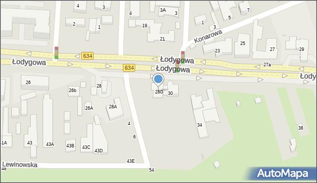 Warszawa, Łodygowa, 28G, mapa Warszawy