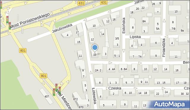 Warszawa, Łotewska, 10, mapa Warszawy