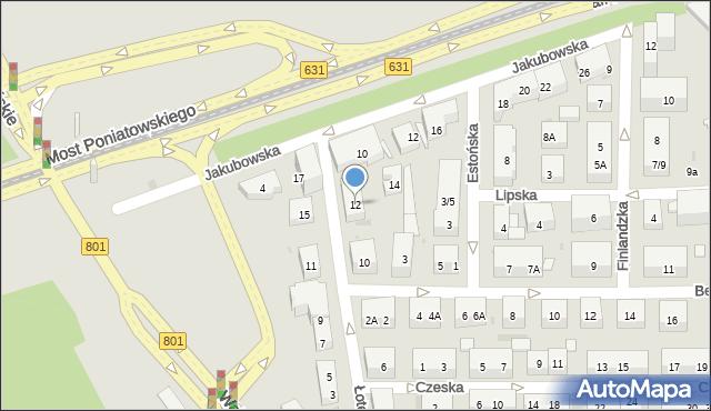 Warszawa, Łotewska, 12, mapa Warszawy