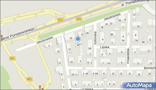 Warszawa, Łotewska, 14, mapa Warszawy