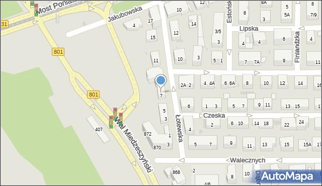 Warszawa, Łotewska, 7A, mapa Warszawy