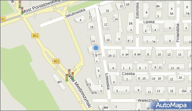 Warszawa, Łotewska, 9, mapa Warszawy