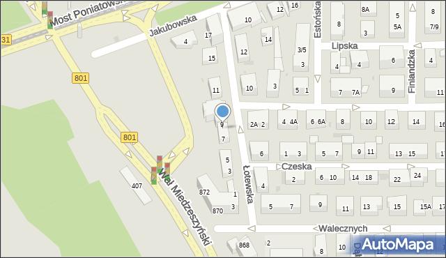 Warszawa, Łotewska, 9A, mapa Warszawy