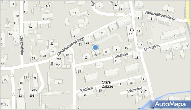 Zabrze, Londzina Józefa, ks., 10, mapa Zabrza