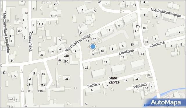 Zabrze, Londzina Józefa, ks., 12, mapa Zabrza