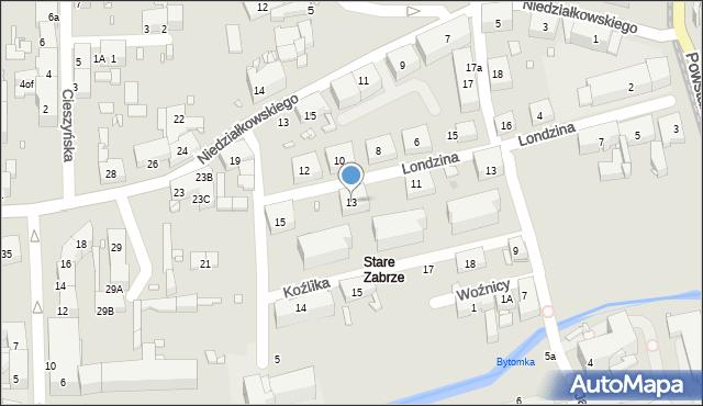 Zabrze, Londzina Józefa, ks., 13, mapa Zabrza