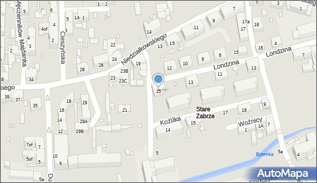 Zabrze, Londzina Józefa, ks., 15, mapa Zabrza