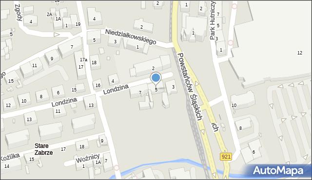 Zabrze, Londzina Józefa, ks., 5, mapa Zabrza