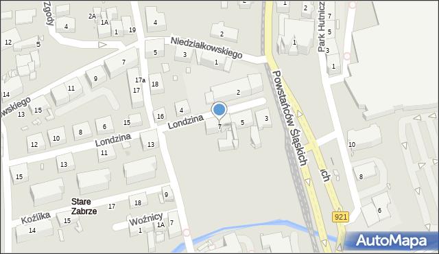 Zabrze, Londzina Józefa, ks., 7, mapa Zabrza