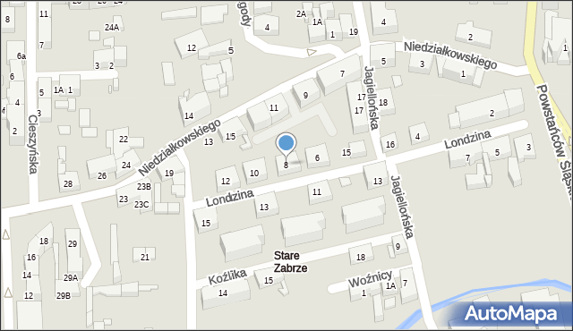 Zabrze, Londzina Józefa, ks., 8, mapa Zabrza