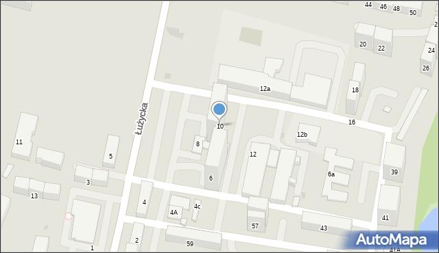 Bytom, Łużycka, 10, mapa Bytomia