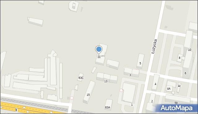 Bytom, Łużycka, 11, mapa Bytomia