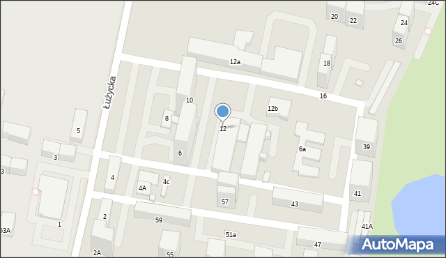Bytom, Łużycka, 12, mapa Bytomia