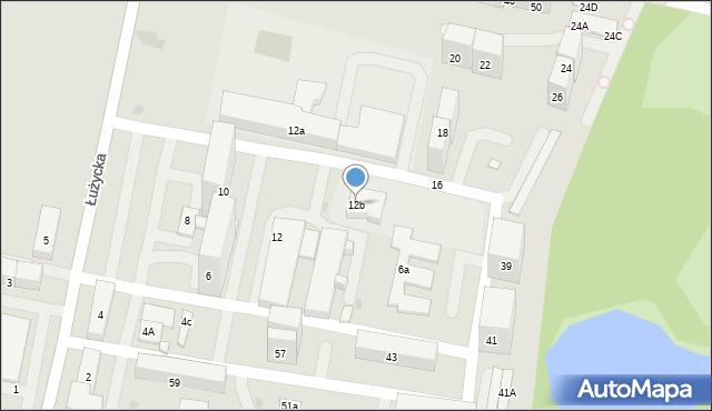 Bytom, Łużycka, 12b, mapa Bytomia