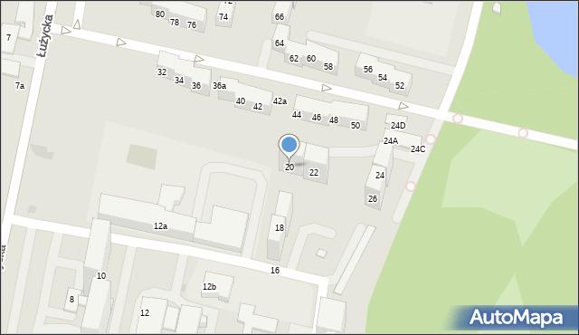 Bytom, Łużycka, 20, mapa Bytomia
