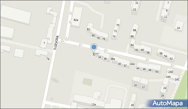Bytom, Łużycka, 32, mapa Bytomia