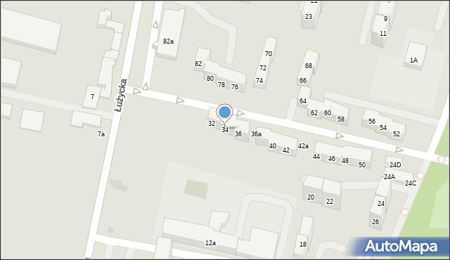 Bytom, Łużycka, 34, mapa Bytomia