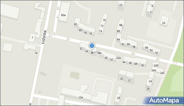 Bytom, Łużycka, 36, mapa Bytomia