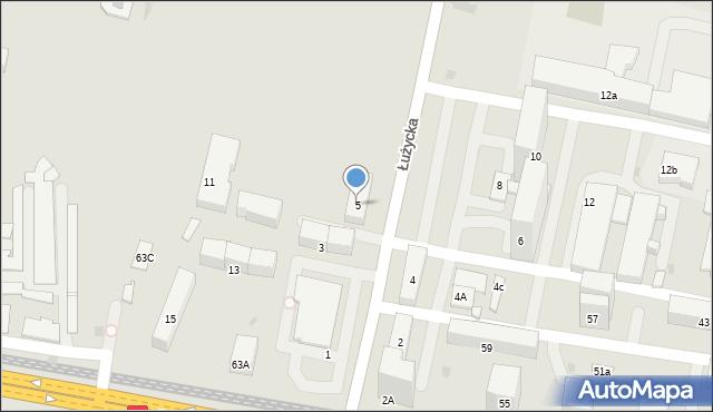 Bytom, Łużycka, 5, mapa Bytomia