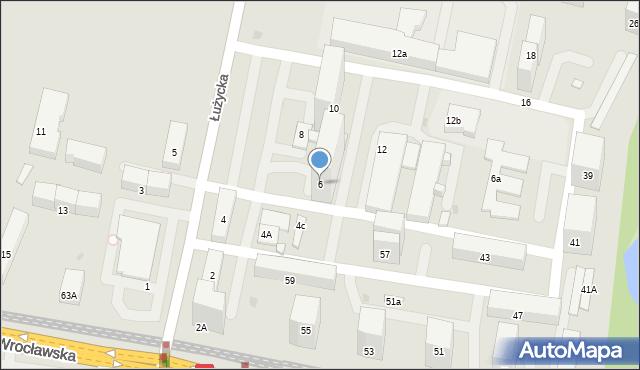 Bytom, Łużycka, 6, mapa Bytomia
