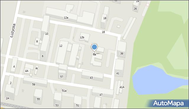 Bytom, Łużycka, 6a, mapa Bytomia