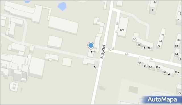 Bytom, Łużycka, 7, mapa Bytomia