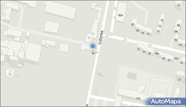 Bytom, Łużycka, 7a, mapa Bytomia